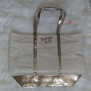 NWT Victoria's Secret Oversize Gold Sequin Bag